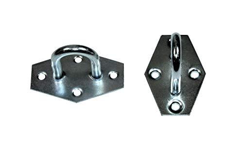 SN-TEC Öse auf Platte für Überfallen   Überfallenöse   Wandöse   Befestigungsöse, verzinkt (Größen- und Mengenauswahl möglich) (2, Ösenöffnung: 18,5x 29,0mm)