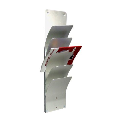 Wandzeitungshalter, 5 Fächer, Aluminium