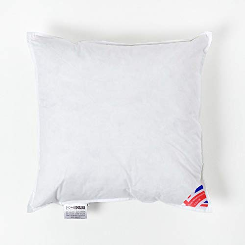 "Homescapes Duck Feather Cushion Pad 45 x 45 cm (18"" x 18"") Inner Insert Filler with 100% Cotton Down Proof Cover Hypoallergenic RDS Certified Machine Washable"