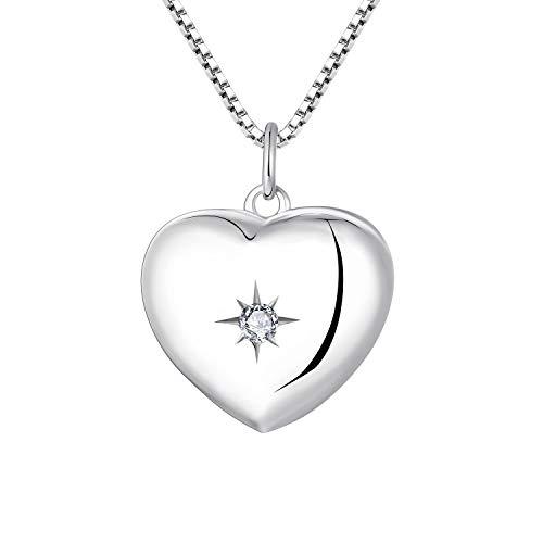 YL Collar de Corazón Medallón Plata de Ley 925 Foto Colgante Collar para Mujer Mamá Madre Abuela Regalo
