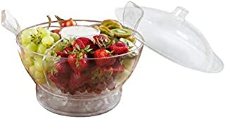 Adorn - 6.4 Quart Ice Chilled Salad Bowl Server on ice with Dome Lid and Serving Utensils | Multi-functional it Includes a Divider with Center Dip Cup | Shatter Resistant Crystal Clear Plastic