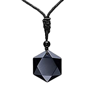 MENGLINA Black Obsidian Hexagram Natural Stone Necklace Translucent Ice Obsidian Wolf Tooth Amulet His and Hers Couples Necklace Lucky Love Pendant Necklace for Men Women