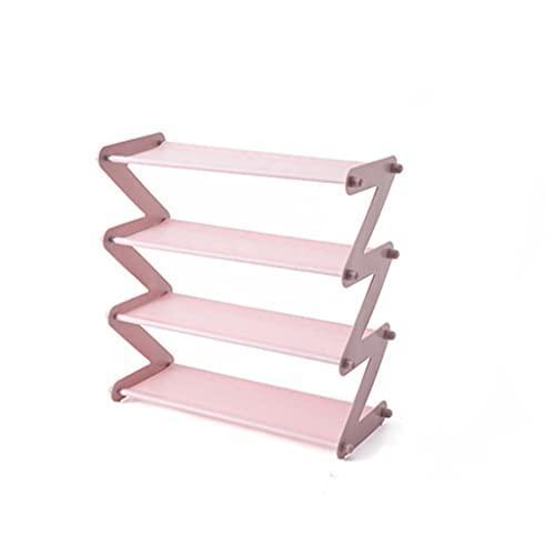 ZPDD Estante de Zapatos Multifuncional Multicapa de Acero Inoxidable Estante Decorativo Planta Libros misceláneas Almacenamiento Dormitorio Organizador de Soporte (Color : Pink)