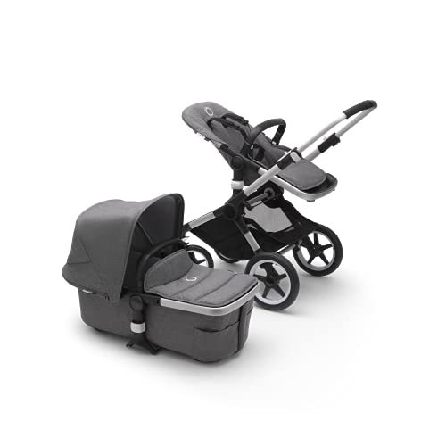 Bugaboo Fox 2, Foldable 3 in 1 pram and Pushchair with Reversible seat and extendable Handlebar, Durable Lightweight Stroller with Grey Melange Sun Canopy and Aluminium Chassis