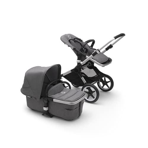 Bugaboo Fox 2, Lo último en sistemas de viaje 2 en 1: carrito ligero, carrito confort y capazo, maniobrable, desde el nacimiento y hasta los 4 Años, chasis de aluminio y capota gris melange