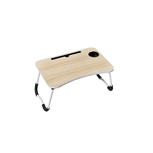Laptop Desk,Portable Laptop Bed Tray Table, Laptop Stand,Reading Stand,with Foldable Legs & Cup Slot for Breakfast, Used in Bed/Sofa/Sofa Eat Breakfast, Read Books, Watch Movies (Wood Grain)