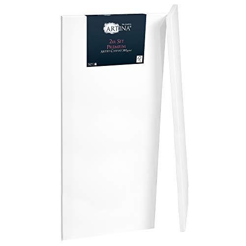 Artina Premium Leinwand 2er Set in Premium Qualität 50x150cm Formstabil bespannt & 3-Fach weiß vorgrundiert Leinwand auf FSC® Keilrahmen 380g/m²