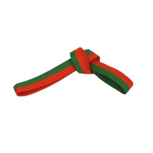 BeMartial Beginner - Cinturón Unisex – Adulto, Naranja/Verde, 4/280 cm