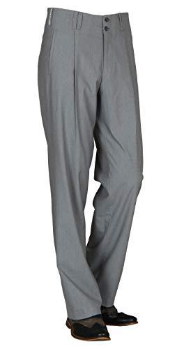 Bundfaltenhose Herren in Grau, Vintage Herren Hose mit Gerade geschnittenen Beinen Swing Outfit, Model Swing Größe 50