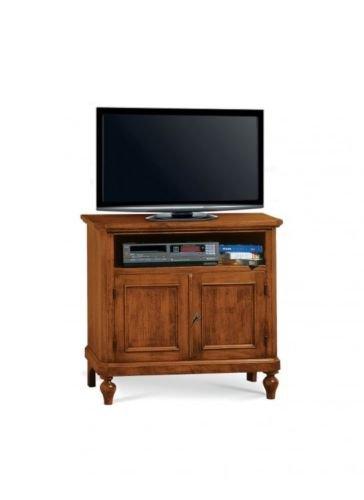 Meuble TV en bois Arte Povera avec 2 portes, couleur noyer