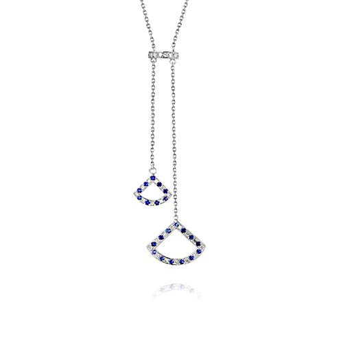 Daesar Collar Oro Blanco 18K Mujer Sector con Diamante Zafiro Azul Blanco 0.145ct