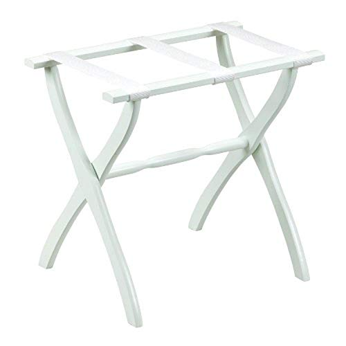 New Gate House Furniture Item White Contoured Leg Luggage Rack with 3 White Nylon Straps 23 by 13 by...