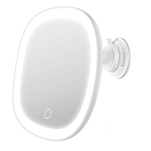 Easehold Espejo Baño con Luz y Ventosas Espejo de Maquillaje 7X Aumento Pared Cosmético y Afeitar Espejo Recargable