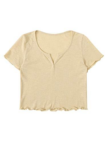 SweatyRocks Women's Solid V Neck Short Sleeve Knit Crop Top Tee Shirts Almond M