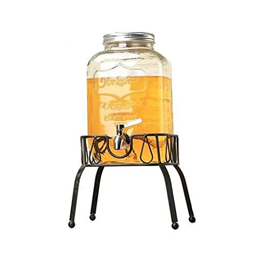 BERTY·PUYI Dispensador De Bebidas, Grifo, Tetera De Vidrio, Sala De Estar, Hervidor Frío, Dispensador De Bebidas De Gran Capacidad para Uso Doméstico, Jarra De Agua De Vidrio-Transparent+Black||8L