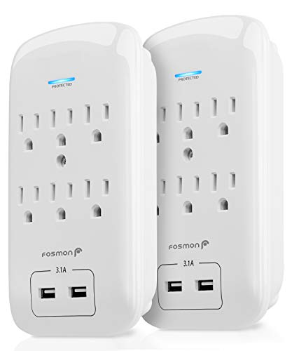 Fosmon 6 Outlet Surge Protector 1200J (2 Pack) with 3.1A Dual USB Ports Charger, Multi Plug Outlet Extender 1875 Watt, 3-Prong Grounded Wall Tap Splitter Adapter