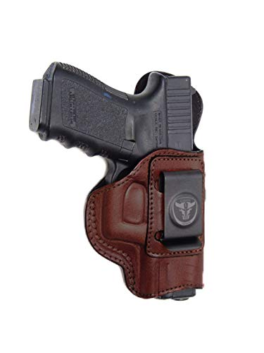 Cardini Leather USA - IWB Brown Leather Holster - Right Handed - Concealed Carry - for Kimber Ultra Carry II - Inside The Waistband with Clip