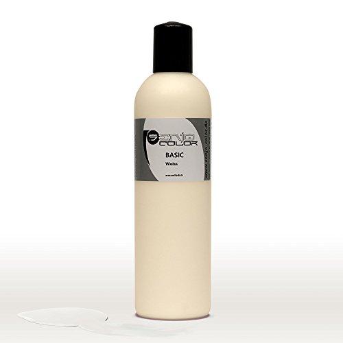 Senjo Color Basic Bodypainting Farben I Kosmetische Körperfarbe wasserlöslich | Liquid für Airbrush und Pinsel I 250ml Weiß