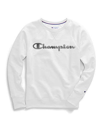 Champion Women's Powerblend Boyfriend Crew Sweatshirt, White - Applique, Medium