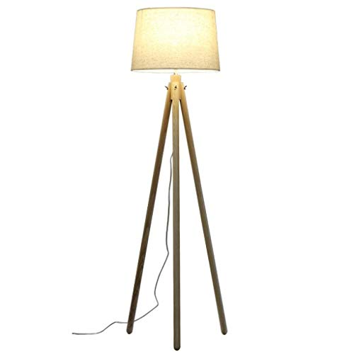 Modern Massief parket Lamp, Simple Stof Lamp warme sfeer Slaapkamer Staande Lamp for Living Room Study Cafe Switch Planken Lamp Tripod Vloerlampen Vloerlamp Plank Lamp LED
