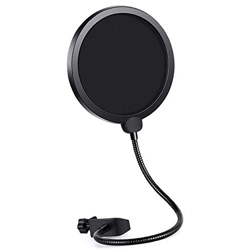 Pop Filter Mask Shield for Blue Yeti Microphone, Dual Layered Wind Pop Screen With Flexible 360° Gooseneck Clip Stabilizing Arm