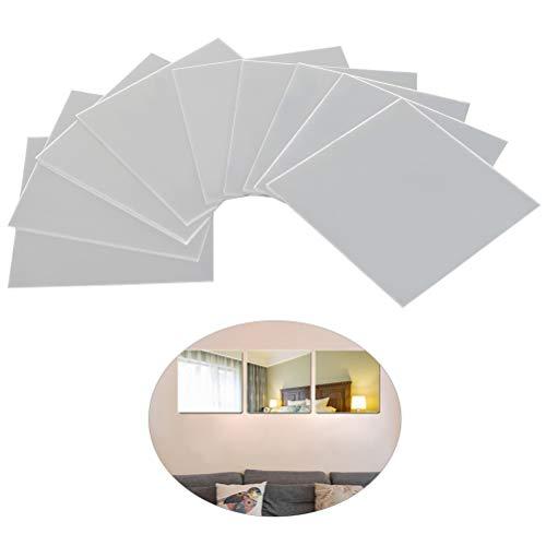 FOCCTS 9pcs de Hojas de Espejo Moderno de Acrílico Plástico Autoadhesivo Cuadrado Fondo de TV Azulejo Espejo Etiqueta de La Pared