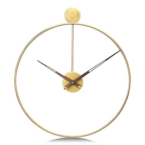 Lafocuse 50cm Reloj de Pared Grande Salon Moderno Dorado Silencioso Hierro Decoración Adorno Metal Oro Reloj Cuarzo sin Tic TAC Café Hotel Oficina