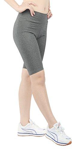 iloveSIA Jogging Damen Shorts Sport Stretch Leggings Strumpfhosen Slim fit Fitness Yoga Gym Grau,L
