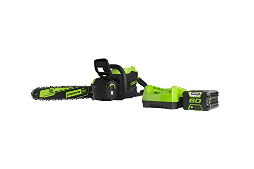 Greenworks Pro 80V 16 inch Brushless Chainsaw, 2.5Ah Battery and Charger Included CS80L2512