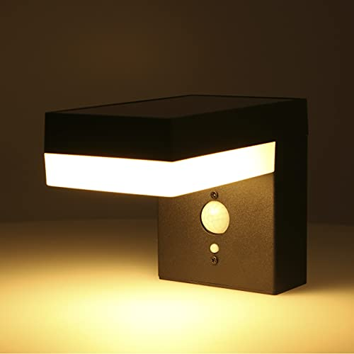 proventa Aplique solar LED exterior 3.3W 400 lm. Sensor de luz y movimiento PIR. Luz blanca cálida 2.700 K. 3 Modos ajustables. Resistente al agua IP44. Sin cables