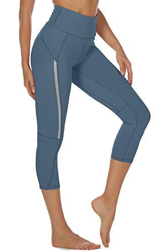 icyzone Mallas pirata de deporte para mujer, para yoga, fitness, talle alto, pantalones de chándal Dusty Blue S