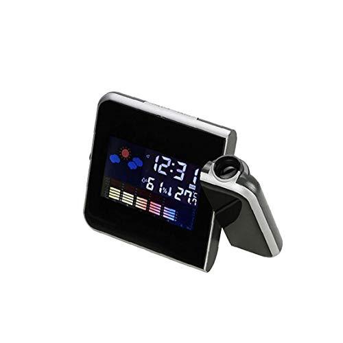 GGOOD Multi-funktions-digital-projektions-wecker Mit Wetterstation USB-ladegerät Thermometer Dual-wecker Für Schlafzimmer Ohne Akku Schwarz-Geschenk Für Kinder