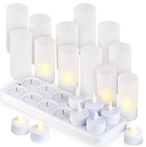 Lunartec aufladbare Teelichter: 12 Akku-LED-Teelichter mit Acryl-Dekogläsern und Ladestation (LED Teelichter wiederaufladbar)