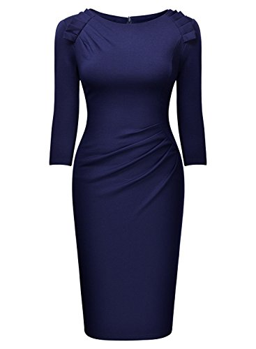 Miusol Damen Abendkleid Rundhals Elegant Kleid 3/4 Arm Etuikleid Cocktailkleid Blau Gr.XL - 4