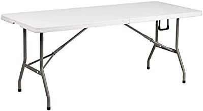 Flash Furniture 6-Foot Bi-Fold Granite White Plastic Banquet and Event Folding Table with Carrying Handle , 30