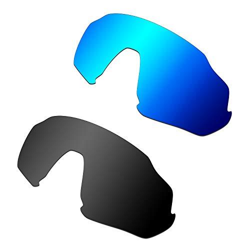HKUCO Reforzarse Lentes de repuesto para Oakley Flight Jacket Gafas de sol Azul/Negro Polarizado