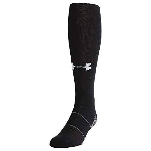 Under Armour Adult Team Over-The-Calf Socks, 1-Pair, Black/White, Shoe Size: Mens 4-8, Womens 6-9