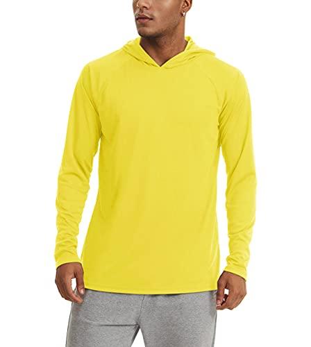 KEFITEVD Langarm Shirt Herren Leichtes Sportshirt Atmungsaktiv Sommer Longsleeve Frühling Jogging Fußball T-Shirt Segeln Surf Quick Dry Shirt Lange Ärmel Gelb L