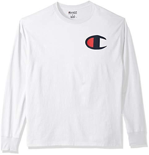 Champion Herren Classic Jersey Long Sleeve Graphic T-Shirt, Weißes Big C Logo, Groß