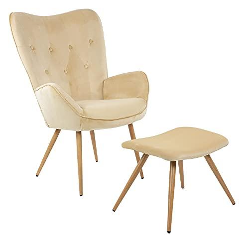 Sillón de Orejas Albatros con Taburete York, Beige, Funda de Terciopelo, cómodamente tapizado, butaca para TV, sillón tapizado