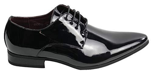 Galax Chaussures homme lacées style chic formel pour mariage ou travail simili cuir brillant verni