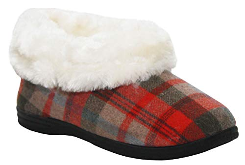 Cushion Walk Womens Ladies Faux Fur Cuff Lined Slip On Cosy Winter Slippers UK Sizes 4-8 (UK 6, Red Multi)