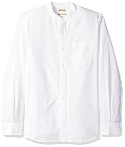 Amazon Brand - Goodthreads Men's Standard-Fit Long-Sleeve Band-Collar Oxford Shirt, -white, Large