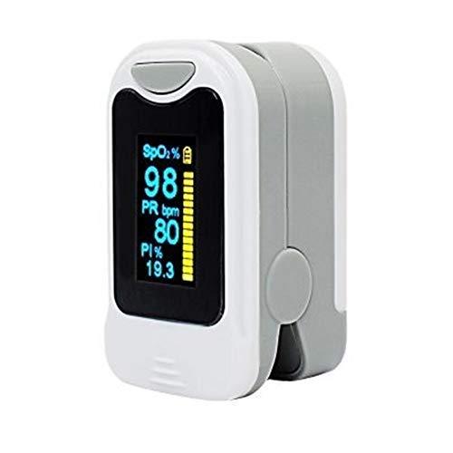 DaTun648 Oxímetro de Pulso, Tipo Dedo oxímetro de Pulso Clip for detectar pulsos de oxígeno Monitor de Ritmo cardíaco Médico de Sangre oxígenos Saturación Monitoreo de Alarmas (Color : White)