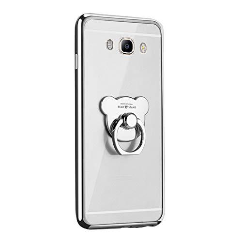 Qpolly - Carcasa de silicona transparente para Samsung Galaxy J3/J3 2016 con anillo soporte de cristal transparente, antigolpes, ultrafina, suave y flexible, color plateado