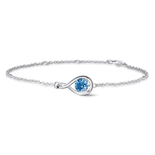 Damen Armband 925 Sterling Silber November Geburtsstein Armband Infinity Echter Schweizer Blautopas Armband Schmuck, Beste November Geschenk für ihre Frauen Mutter Mädchen, Länge: 16.5+2+2cm