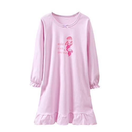 SYROSA Mädchen Langarm Nachthemden rosa weichen Pyjama Prinzessin Nachthemd Baumwolle 9-10 Jahre