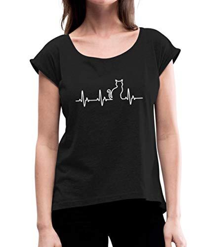 Katze Silhouette EKG Herzschlag Katzenfan Frauen T-Shirt mit gerollten Ärmeln, XL, Schwarz