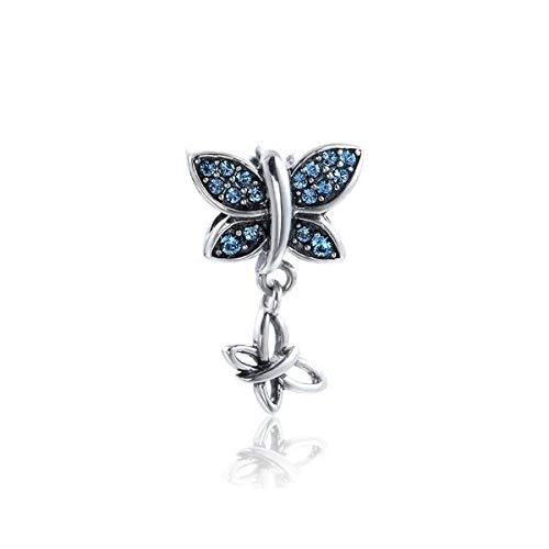 DIAN Jewellery Abalorio de plata de ley 925 con diseño de mariposa para madre y bebé, compatible con pulseras europeas, regalo para aniversario, cumpleaños, bautizo, dijes para pulsera