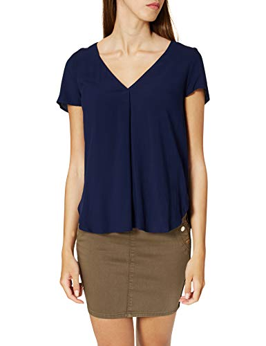 Springfield Camiseta Bimateria Lisa, Azul Medio, L para Mujer